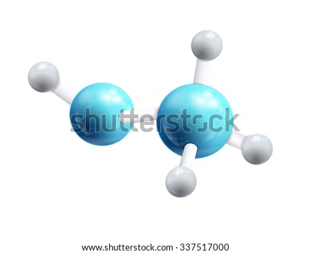 Structural chemical formula and model of methanol molecule, 3d object isolated on the white backgrpound. Vector Illustration, eps10, contains transparencies. - stock vector