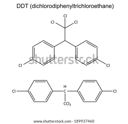 Structural chemical formulas of pesticide DDT, 2d illustration, vector, isolated on white