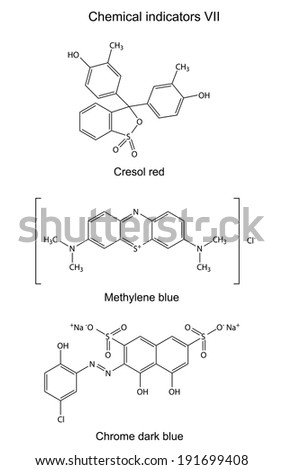 Structural formulas of chemical indicators (cresol red, methylene blue, chrome dark blue), 2D illustration, vector, isolated on white background