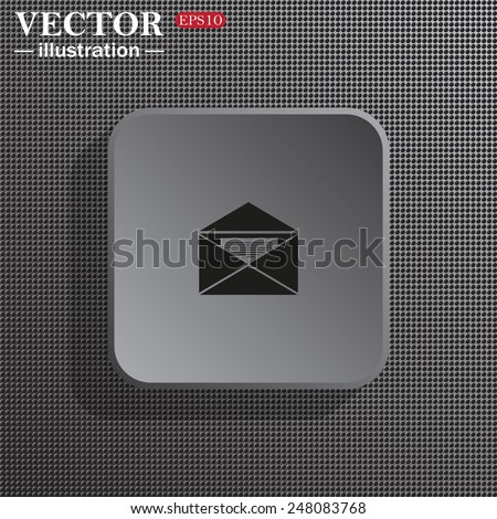 Structural gray background with shadow, gray square, open envelope with a letter, vector, EPS 10 - stock vector