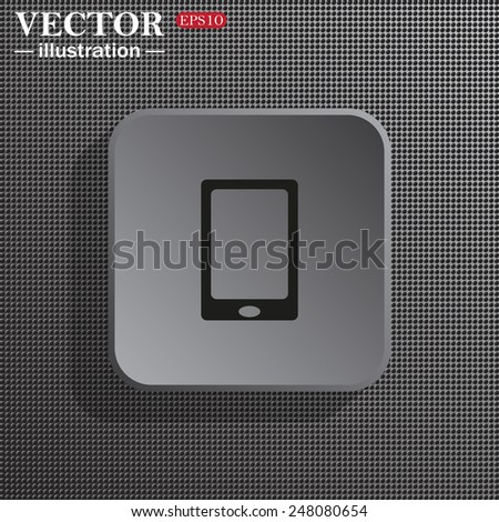 Structural gray background with shadow, gray square, Smartphone, phone, mobile phone , vector illustration, EPS 10 - stock vector