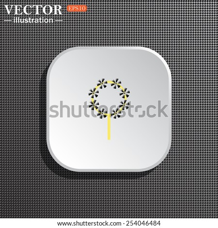 Structural gray background with shadow, white square. Children's toy wind mill, turntables, pinwheel wind vane, vector illustration, EPS 10 - stock vector