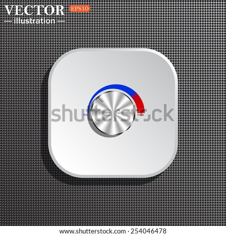 Structural gray background with shadow, white square. metal volume control, red, blue, light, vector illustration, EPS 10 - stock vector