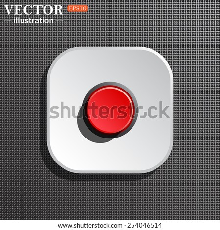 Structural gray background with shadow, white square. Red button start, stop. Vector illustration, EPS 10 - stock vector
