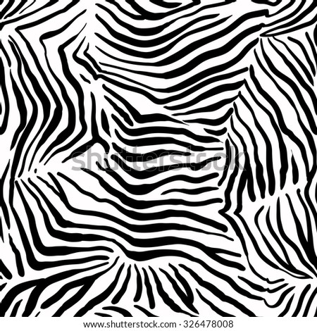 Structural zebra seamless pattern. Animal abstract background - stock vector