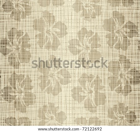 Structure a linen fabric with flowers - stock vector