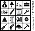 structure, civil engineer, and tools icon set - stock photo
