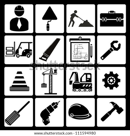 Structure Civil Engineer Tools Icon Set Stock Vector 111594980