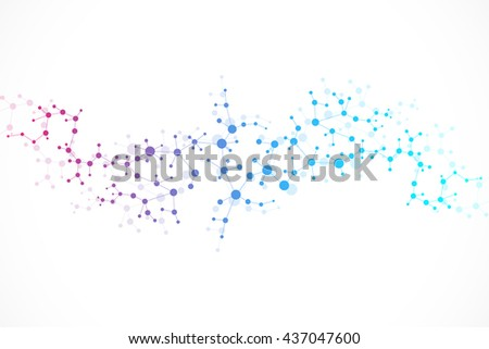 Structure molecule and communication Dna, atom, neurons. Science concept for your design. Connected lines with dots. Medical, technology, chemistry, science background. Vector illustration. - stock vector