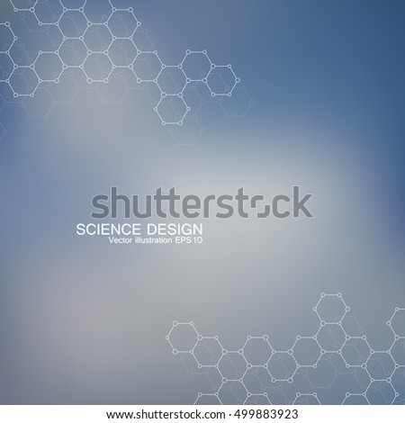 Structure molecule of DNA and neurons. Structural atom. Genetic and chemical compounds. Medicine, science and technology concept. Geometric abstract background. Vector illustration for your design.
