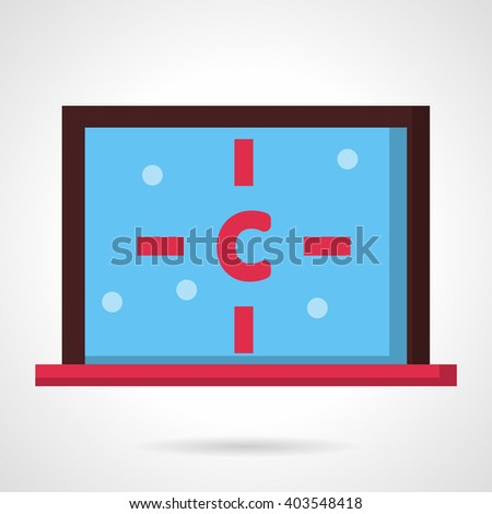 Structure of carbon atom on a computer monitor. Chemical industry, science, education and ecology theme. Flat color style vector icon. Web design element for site, mobile and business. - stock vector