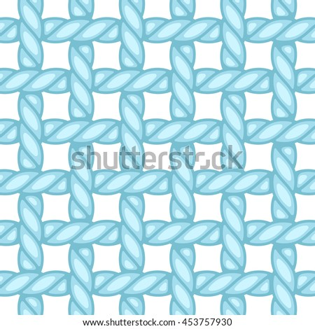 Structure of plain-woven fabric, colored in blue and isolated on white - stock vector