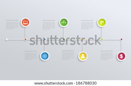 Structure timeline with business icons - stock vector