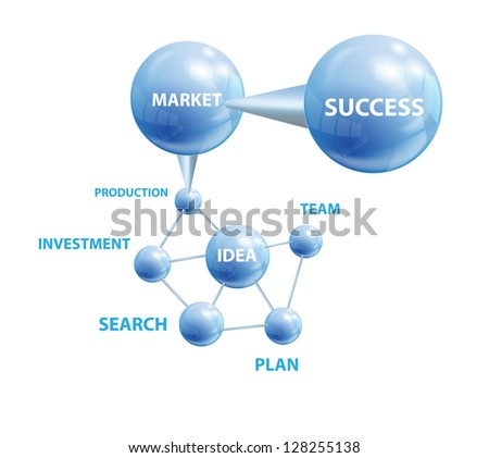 Structure with blue abstract spheres.  File contains  gradients and transparency. EPS 10. - stock vector