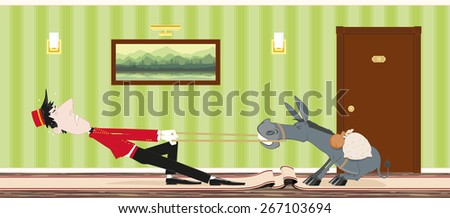 Stubborn donkey does not want to go for a porter at the hotel - stock vector