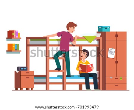 Bedside table clipart  Student Boy Climbing Bunk Bed Ladder Stock Vector 701993479 ...