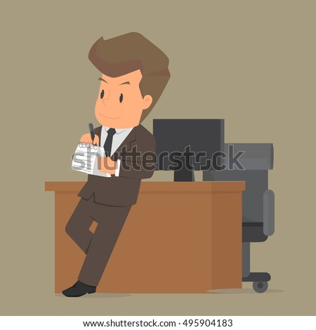 Student business men intend to work, write down the information. vector
