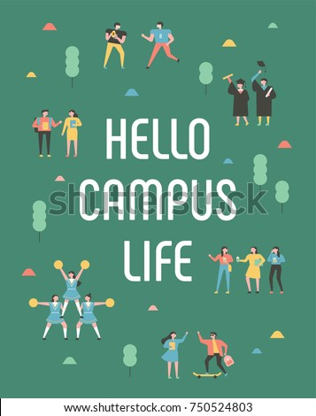 Student characters showing various activities on campus life. Park background poster concept illustration vector flat design