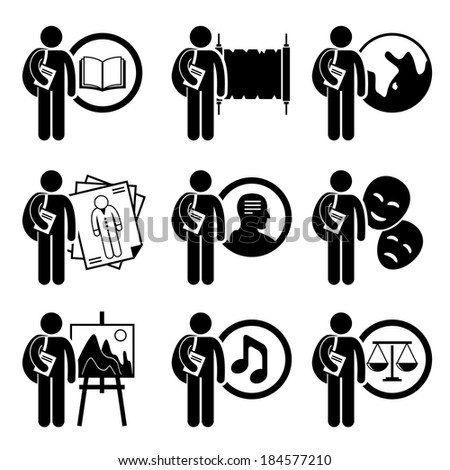 Student Degree in Arts and Humanities Stick Figure Pictogram Icon - stock vector