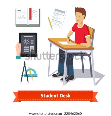 Student desk colourful flat icon set. Classroom student sitting at the desk and writing on the paper. EPS 10 vector. - stock vector