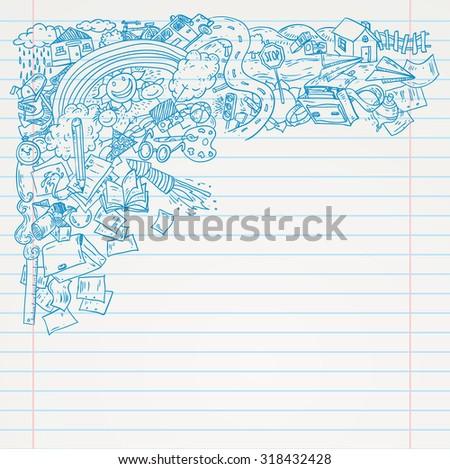 Student Doodle on paper, Back to School Sketchbook Illustration. - stock vector