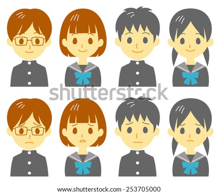 Student, expressions - stock vector