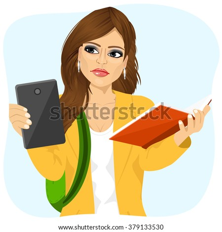 student girl choosing between tablet and books  - stock vector