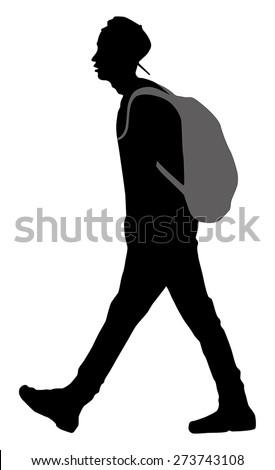 student going to school, silhouette vector  - stock vector