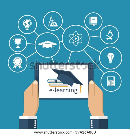 Student holding a tablet in hands. Concept of online education. E-learning. Vector illustration Flat design. Virtual interface with icons education. - stock vector