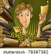 Student learning hard. Tired teenager surrounded by lots of books and papers late at night, preparing for exam passing. Education vector illustration. - stock photo