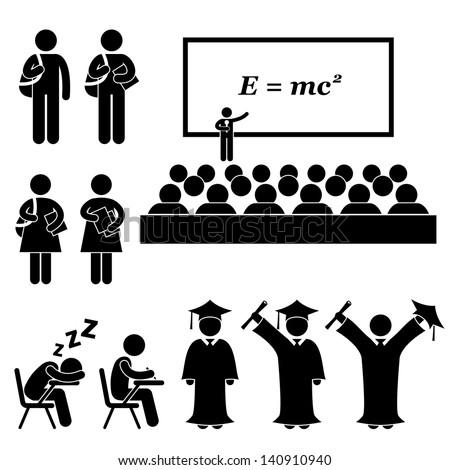 Student Lecturer Teacher School College University Graduate Graduation Icon Symbol Sign Pictogram - stock vector
