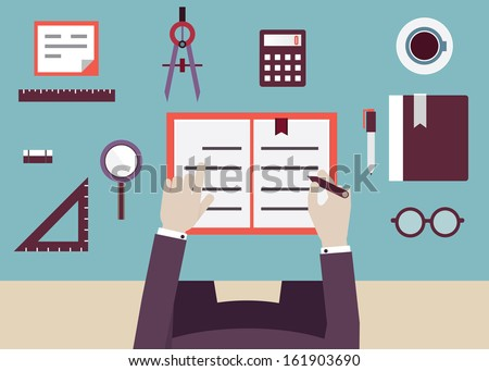 Student place of pupil with textbook and objects  for study. Flat design style - vector illustration - stock vector