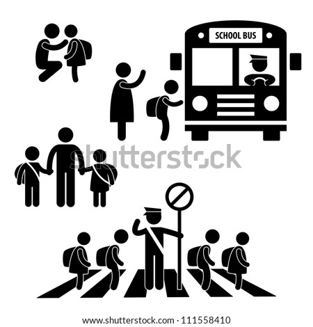 Student Pupil Children Back to School Bus Crossing Road Traffic Police Icon Symbol Sign Pictogram - stock vector