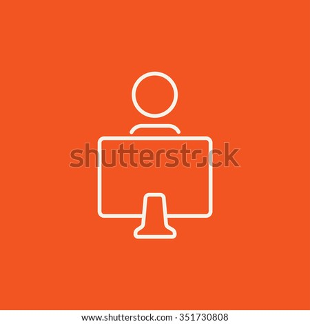 Student sitting in front of the computer monitor line icon for web, mobile and infographics. Vector white icon isolated on red background.