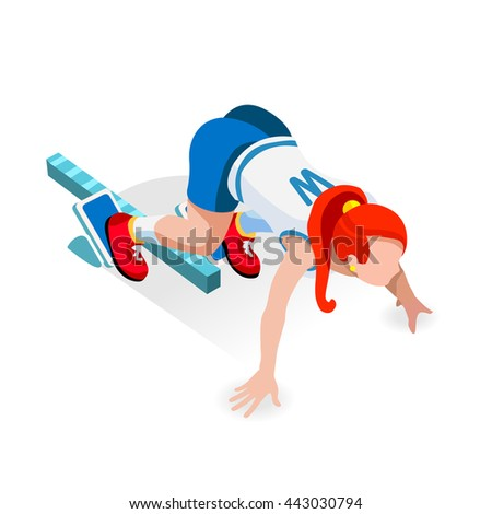 Student Sprinter College Runner Athlete at Starting Line Athletics Race Set.3D Flat Isometric Sport of Athletics Student Runner Athlete at Starting Blocks.College Sports Infographic Vector Image. - stock vector
