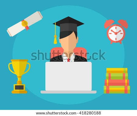 Student studying at the laptop, preparing for examination, distance learning, online education concept - stock vector