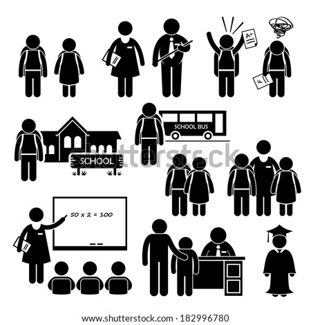 Student Teacher Headmaster School Children Stick Figure Pictogram Icon Clipart - stock vector
