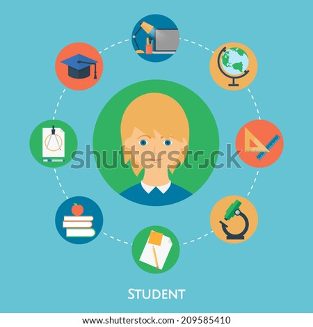 Student, vector character, education icons. Flat style - stock vector