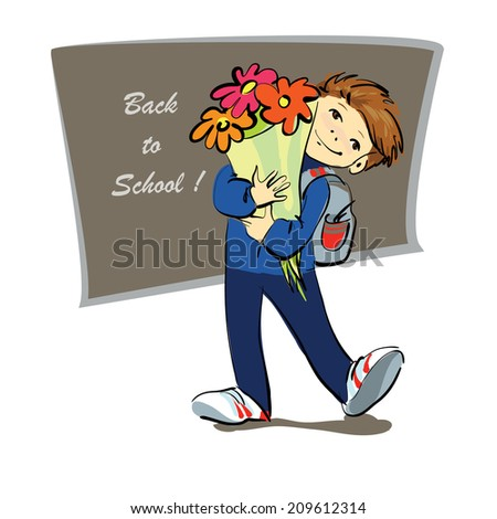 student with a bouquet of flowers, back to school, the vector drawing by hand - stock vector