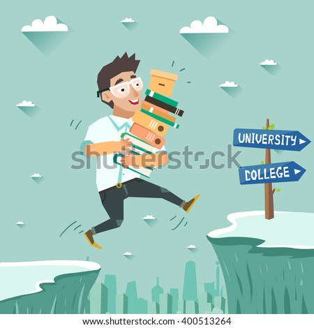 Student with pile of books jumping over the abyss or cliff. Education, Graduation concept, going to university or college. Vector colorful illustration in flat style - stock vector
