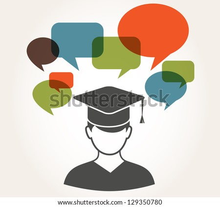 student with speech bubbles - stock vector