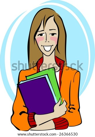 Student with textbooks - stock vector