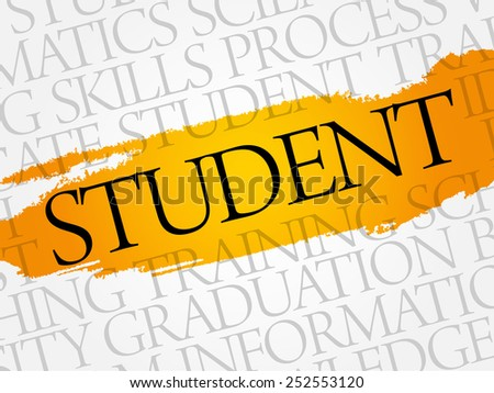 STUDENT word cloud, education business concept - stock vector