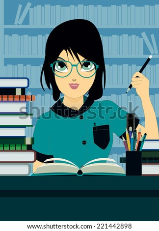 Student wrote a bookshelf in the background.  - stock vector