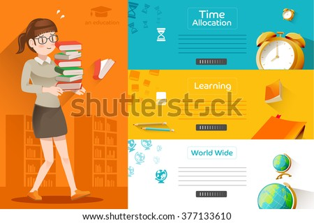 Students are preparing for the Final exam.Illustration recommended of learning in a school. Life in school.Concepts education for web banners.The success of learning.Graphic design and EPS 10. - stock vector