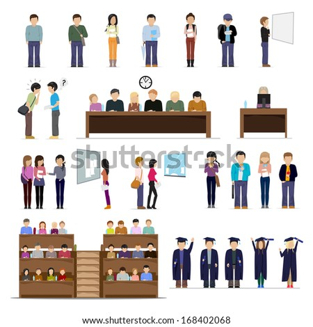 Students At The University In Different Situations - Isolated On White Background - Vector Illustration, Graphic Design Editable For Your Design - stock vector