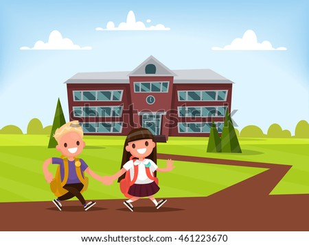 Students Elementary school . Schoolboy and schoolgirl go together hand in hand to school. Vector illustration of a flat design
