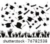 Students graduating and tossing caps - stock