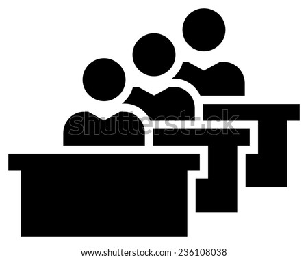 Students in classroom icon - stock vector