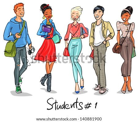 Students - part 1. Hand drawn teenagers, group of young people, set. - stock vector